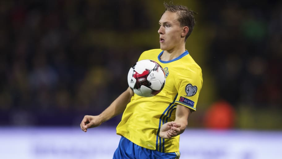 SOLNA, SWEDEN - OCTOBER 07: Ludwig Augustinsson of Sweden during the FIFA 2018 World Cup Qualifier between Sweden and Luxembourg at Friends Arena on October 7, 2017 in Solna, Sweden. (Photo by Nils Petter Nilsson/Ombrello/Getty Images)
