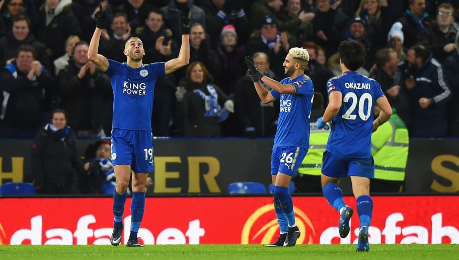 LEICESTER, ENGLAND - JANUARY 01:  Islam Slimani of Leicester City celebrates scoring his team's second goal during the Premier League match between Leicester City and Huddersfield Town at The King Power Stadium on January 1, 2018 in Leicester, England.  (Photo by Tony Marshall/Getty Images)