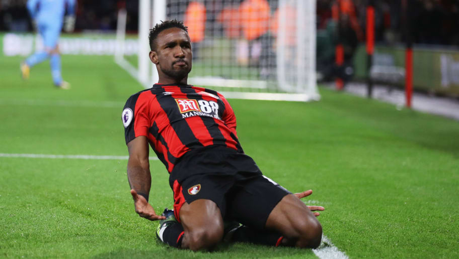 BOURNEMOUTH, ENGLAND - SEPTEMBER 15:  Jermain Defoe of AFC Bournemouth (18) celebrates as he scores their second goal  during the Premier League match between AFC Bournemouth and Brighton and Hove Albion at Vitality Stadium on September 15, 2017 in Bournemouth, England.  (Photo by Dan Istitene/Getty Images)