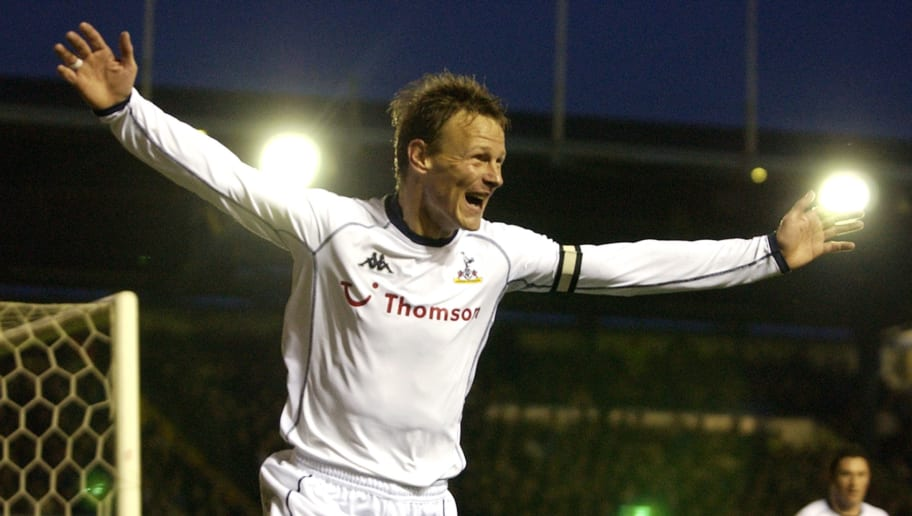 BIRMINGHAM - NOVEMBER 30:  Teddy Sheringham of Tottenham Hotspur celebrates scoring the opening goal during the FA Barclaycard Premiership match between Birmingham City and Tottenham Hotspur held on November 30, 2002 at St Andrews, in Birmingham, England. The match ended in a 1-1 draw. (Photo by Shaun Botterill/Getty Images)