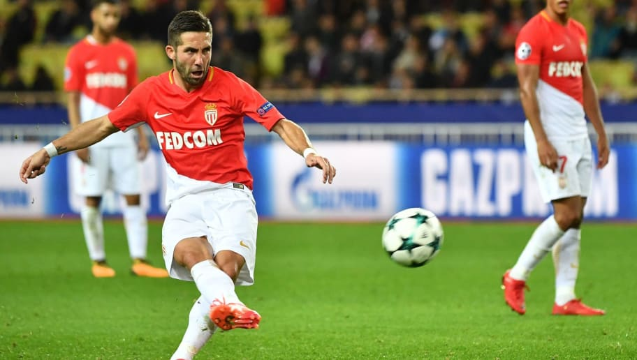 Monaco's Portuguese midfielder Joao Moutinho shoots a penalty kick during the UEFA Champions League group G football match between Monaco and Leipzig at the Louis II stadium, in Monaco, on November 21, 2017. / AFP PHOTO / Bertrand LANGLOIS        (Photo credit should read BERTRAND LANGLOIS/AFP/Getty Images)
