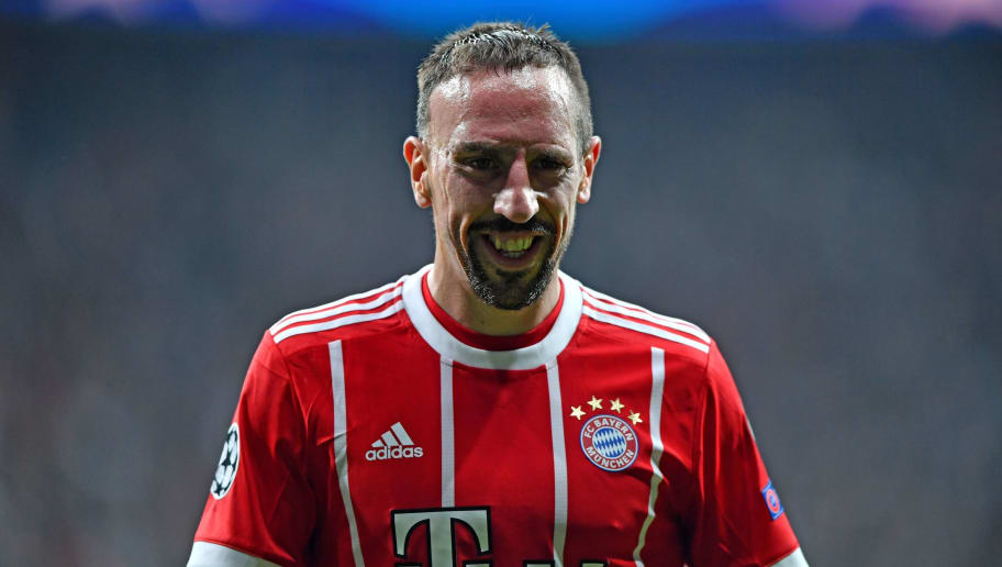 Bayern Munich's French midfielder Franck Ribery looks on during the second leg of the last 16 UEFA Champions League football match between Besiktas and Bayern Munich at Besiktas Park in Istanbul on March 14, 2018.  / AFP PHOTO / Bulent Kilic        (Photo credit should read BULENT KILIC/AFP/Getty Images)
