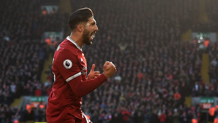 TOPSHOT - Liverpool's German midfielder Emre Can celebrates scoring the team's first goal during the English Premier League football match between Liverpool and West Ham United at Anfield in Liverpool, north west England on February 24, 2018. / AFP PHOTO / Oli SCARFF / RESTRICTED TO EDITORIAL USE. No use with unauthorized audio, video, data, fixture lists, club/league logos or 'live' services. Online in-match use limited to 75 images, no video emulation. No use in betting, games or single club/league/player publications.  /         (Photo credit should read OLI SCARFF/AFP/Getty Images)