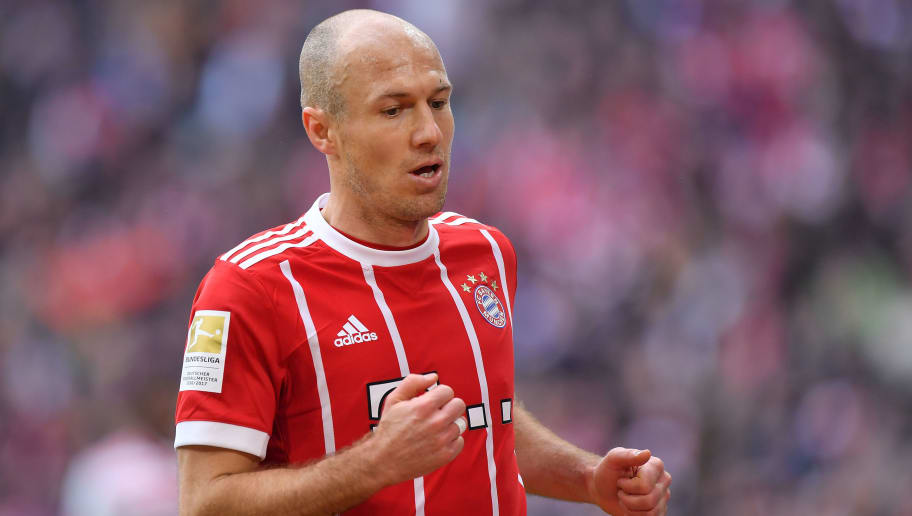 MUNICH, GERMANY - MARCH 10: Arjen Robben of Bayern Muenchen looks on during the Bundesliga match between FC Bayern Muenchen and Hamburger SV at Allianz Arena on March 10, 2018 in Munich, Germany. (Photo by Sebastian Widmann/Bongarts/Getty Images)