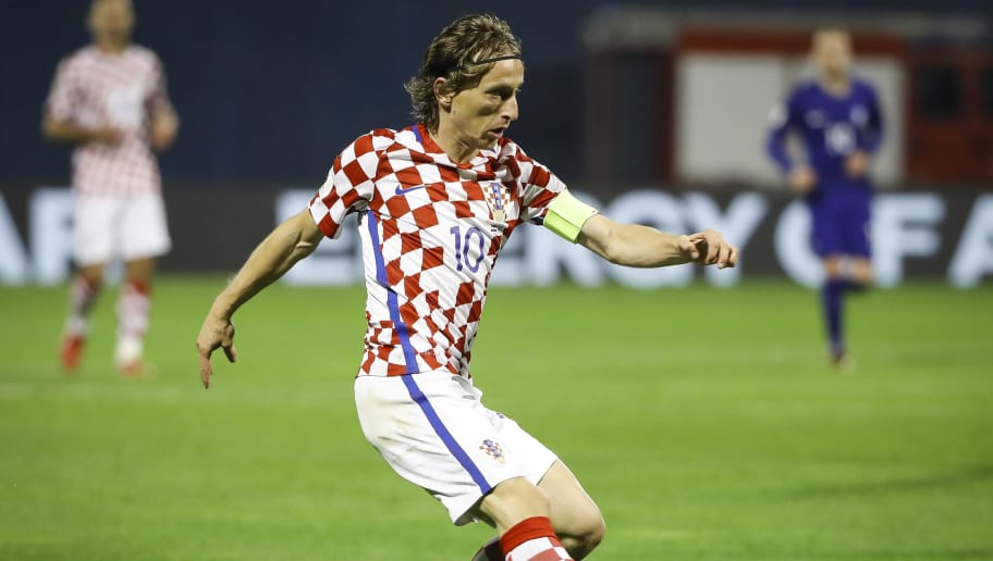 ZAGREB, CROATIA - NOVEMBER 09: Luka Modric of Croatia in action during the FIFA 2018 World Cup Qualifier Play-Off: First Leg between Croatia and Greece at Stadion Maksimir on November 9, 2017 in Zagreb, Croatia (Photo by Srdjan Stevanovic/Getty Images)