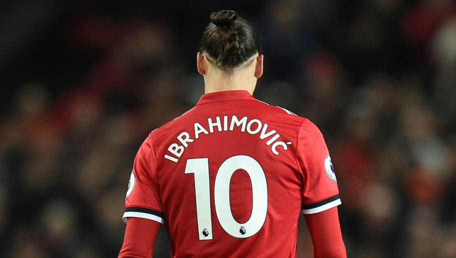 Manchester United's Swedish striker Zlatan Ibrahimovic wears the number 10 shirt during the English Premier League football match between Manchester United and Newcastle at Old Trafford in Manchester, north west England, on November 18, 2017. / AFP PHOTO / Oli SCARFF / RESTRICTED TO EDITORIAL USE. No use with unauthorized audio, video, data, fixture lists, club/league logos or 'live' services. Online in-match use limited to 75 images, no video emulation. No use in betting, games or single club/league/player publications.  /         (Photo credit should read OLI SCARFF/AFP/Getty Images)