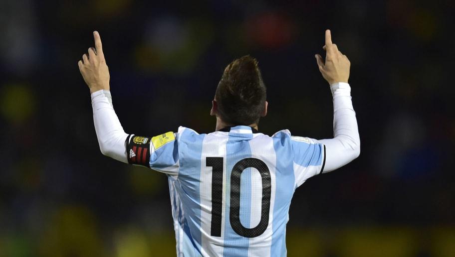 TOPSHOT - Argentina's Lionel Messi celebrates after scoring his third goal against Ecuador during their 2018 World Cup qualifier football match in Quito, on October 10, 2017. / AFP PHOTO / Rodrigo BUENDIA        (Photo credit should read RODRIGO BUENDIA/AFP/Getty Images)