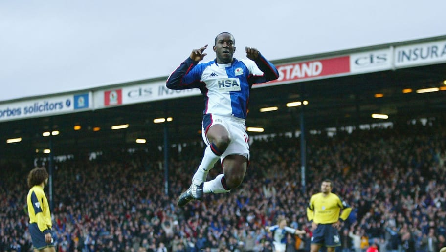 BLACKBURN, ENGLAND - JANUARY 10: Dwight Yorke of Blackburn celebrates the second goal during the FA Barclaycard Premiership match between Blackburn Rovers and Bolton Wanderers at Ewood Park on January 10, 2004 in Blackburn, England.  (Photo by Michael Steele/Getty Images)