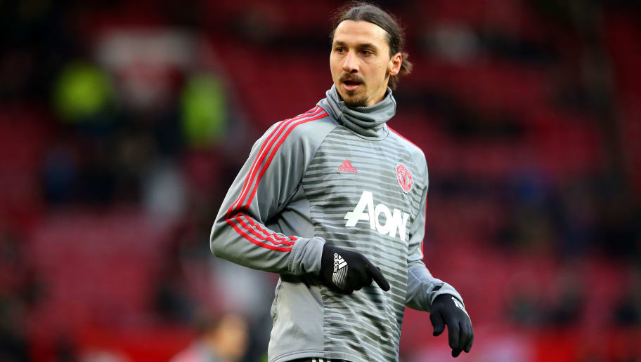MANCHESTER, ENGLAND - DECEMBER 26:  Zlatan Ibrahimovic of Manchester United warms up ahead of the Premier League match between Manchester United and Burnley at Old Trafford on December 26, 2017 in Manchester, England.  (Photo by Alex Livesey/Getty Images)