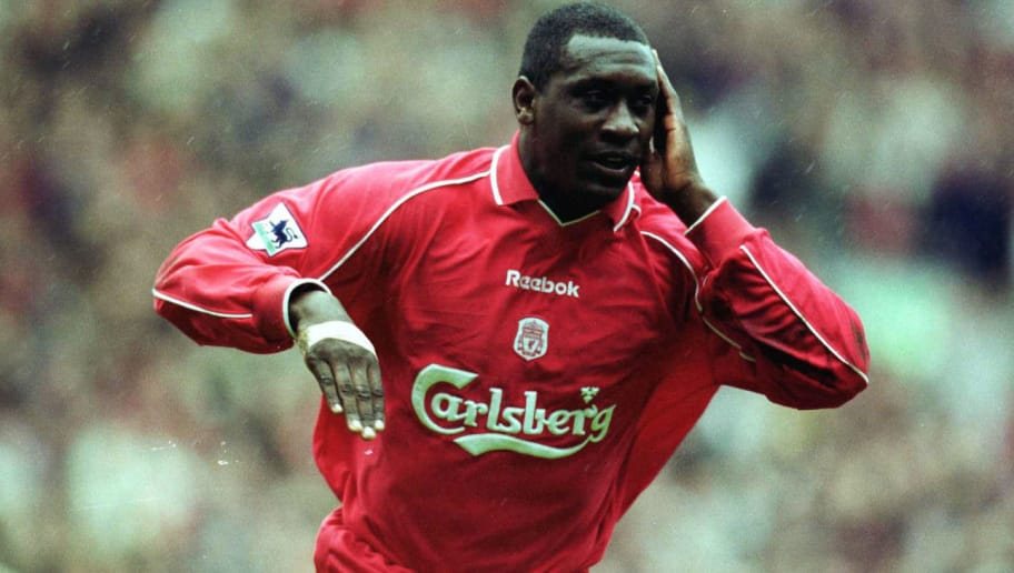 22  Apr 2001:  Emile Heskey of Liverpool celebrates after scoring the opening goal during the match between Liverpool and Tottenham Hotspur in the FA Carling Premiership at Anfield, Liverpool. Mandatory Credit: Alex Livesey/ALLSPORT