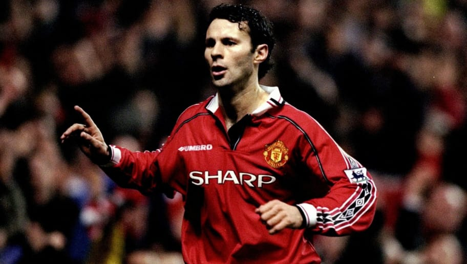26 Dec 1998:  Ryan Giggs of Manchester United celebrates his goal against Nottingham Forest in the FA Carling Premiership match at Old Trafford in Manchester, England.  The match finished in 3-0 win for Mancester United. \ Mandatory Credit: Alex Livesey /Allsport