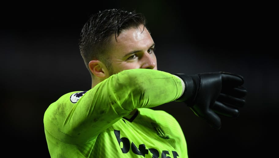 MANCHESTER, ENGLAND - JANUARY 15:  Jack Butland of Stoke City reacts during the Premier League match between Manchester United and Stoke City at Old Trafford on January 15, 2018 in Manchester, England.  (Photo by Michael Regan/Getty Images)