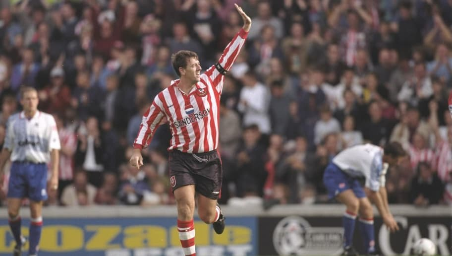 28 Sep 1996:  Matt Le Tissier of Southampton celebrates his two goals during the FA Carling Premier League match between Southampton and Middlesbrough at the Dell in Soutahmpton. Southampton went on to win the match by 4-0. Mandatory Credit: Mike Hewitt/Allsport