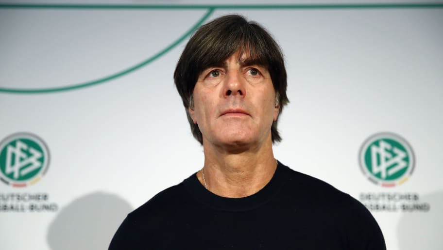DUESSELDORF, GERMANY - MARCH 22: Head coach Joachim Loew looks on during a Germany press conference ahead of their international friendly match against Spain at Hilton Hotel on March 22, 2018 in Duesseldorf, Germany.  (Photo by Maja Hitij/Bongarts/Getty Images)