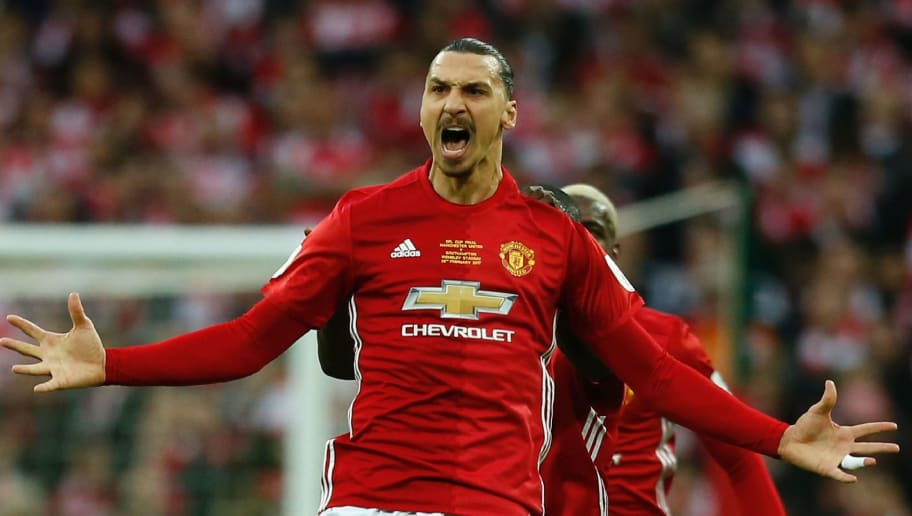 Manchester United's Swedish striker Zlatan Ibrahimovic (C) celebrates scoring the opening goal during the English League Cup final football match between Manchester United and Southampton at Wembley stadium in north London on February 26, 2017. / AFP / Ian KINGTON / RESTRICTED TO EDITORIAL USE. No use with unauthorized audio, video, data, fixture lists, club/league logos or 'live' services. Online in-match use limited to 75 images, no video emulation. No use in betting, games or single club/league/player publications.  /         (Photo credit should read IAN KINGTON/AFP/Getty Images)