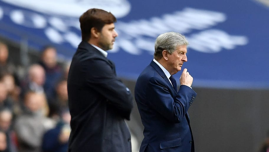 Tottenham Hotspur's Argentinian head coach Mauricio Pochettino and Crystal Palace's English manager Roy Hodgson watches his players from the touchline during the English Premier League football match between Tottenham Hotspur and Crystal Palace at Wembley Stadium in London, on November 5, 2017. / AFP PHOTO / Ben STANSALL / RESTRICTED TO EDITORIAL USE. No use with unauthorized audio, video, data, fixture lists, club/league logos or 'live' services. Online in-match use limited to 75 images, no video emulation. No use in betting, games or single club/league/player publications.  /         (Photo credit should read BEN STANSALL/AFP/Getty Images)