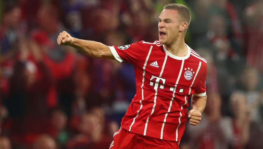 MUNICH, GERMANY - OCTOBER 18:   Joshua Kimmich of Bayern Muenchen celebrates scoring his sides second goal during the UEFA Champions League group B match between Bayern Muenchen and Celtic FC at Allianz Arena on October 18, 2017 in Munich, Germany.  (Photo by Alexander Hassenstein/Bongarts/Getty Images)