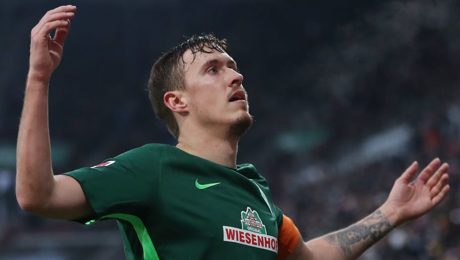 AUGSBURG, GERMANY - MARCH 17: Max Kruse of Bremen of celebrates after the Bundesliga match between FC Augsburg and SV Werder Bremen at WWK-Arena on March 17, 2018 in Augsburg, Germany. (Photo by Alex Grimm/Bongarts/Getty Images)