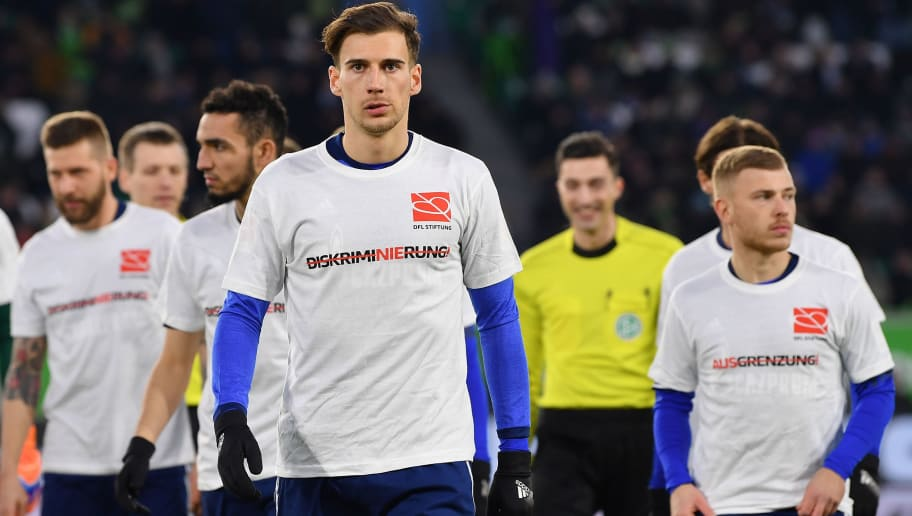 WOLFSBURG, GERMANY - MARCH 17:  Leon Goretzka of Schalke prior to the Bundesliga match between VfL Wolfsburg and FC Schalke 04 at Volkswagen Arena on March 17, 2018 in Wolfsburg, Germany.  (Photo by Stuart Franklin/Bongarts/Getty Images)