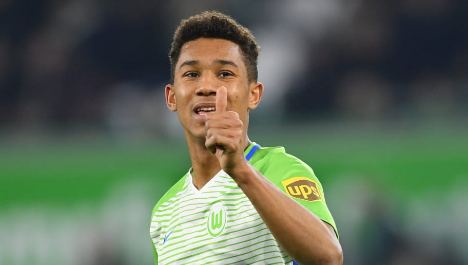 WOLFSBURG, GERMANY - DECEMBER 12:  Felix Uduokhai of Wolfsburg  gives the thumbs up sign during the Bundesliga match between VfL Wolfsburg and RB Leipzig at Volkswagen Arena on December 12, 2017 in Wolfsburg, Germany.  (Photo by Stuart Franklin/Bongarts/Getty Images)