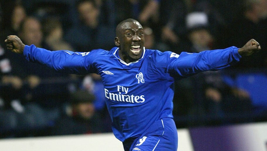 BOLTON - 23 NOVEMBER:  Jimmy Floyd Hasselbaink of Chelsea celebrates scoring during the FA Barclaycard Premiership match between Bolton Wanderers and Chelsea at the Reebok Stadium in Bolton, England on November 23, 2002. (photo by Mark Thompson/Getty Images).