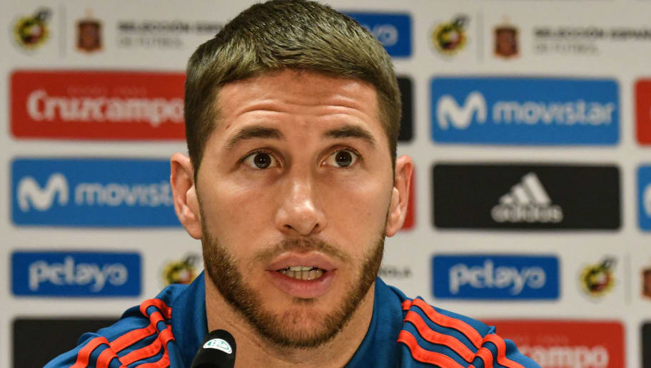 Spain's defender Sergio Ramos attends a press conference of Spain on the eve of their international friendly match against Germany at Paul-Janes-Stadion on March 22, 2018 in Duesseldorf, Germany.  / AFP PHOTO / Patrik STOLLARZ        (Photo credit should read PATRIK STOLLARZ/AFP/Getty Images)
