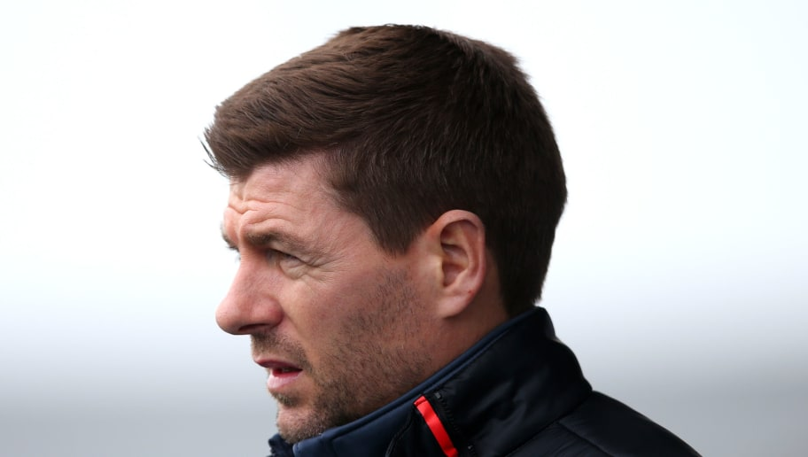 MANCHESTER, ENGLAND - MARCH 14: Steven Gerrard, Manager of Liverpool during the UEFA Youth League Quarter-Final between Manchester City and Liverpool  at Manchester City Football Academy on March 14, 2018 in Manchester, England.  (Photo by Alex Livesey/Getty Images)