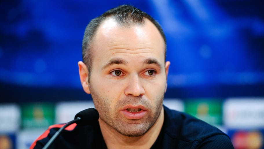 BARCELONA, SPAIN - APRIL 09:  Andres Iniesta of FC Barcelona faces the media during a press conference ahead the UEFA Champions League quarter-final second leg match between FC Barcelona and Paris St Germain at the Joan Gamper Sport Complex on April 9, 2013 in Barcelona, Spain.  (Photo by David Ramos/Getty Images)