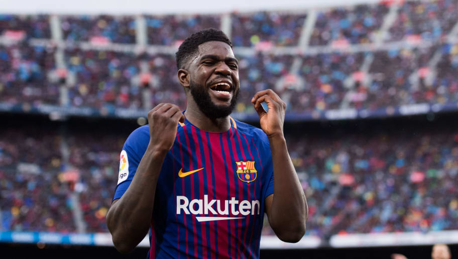 BARCELONA, SPAIN - MARCH 04:  Samuel Umtiti of FC Barcelona reacts during the La Liga match between Barcelona and Atletico Madrid at Camp Nou on March 4, 2018 in Barcelona, Spain.  (Photo by Alex Caparros/Getty Images)