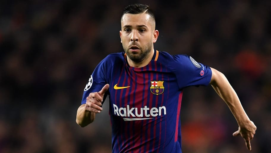 BARCELONA, SPAIN - MARCH 14:  Jordi Alba of Barcelona in action during the UEFA Champions League Round of 16 Second Leg match FC Barcelona and Chelsea FC at Camp Nou on March 14, 2018 in Barcelona, Spain.  (Photo by David Ramos/Getty Images)
