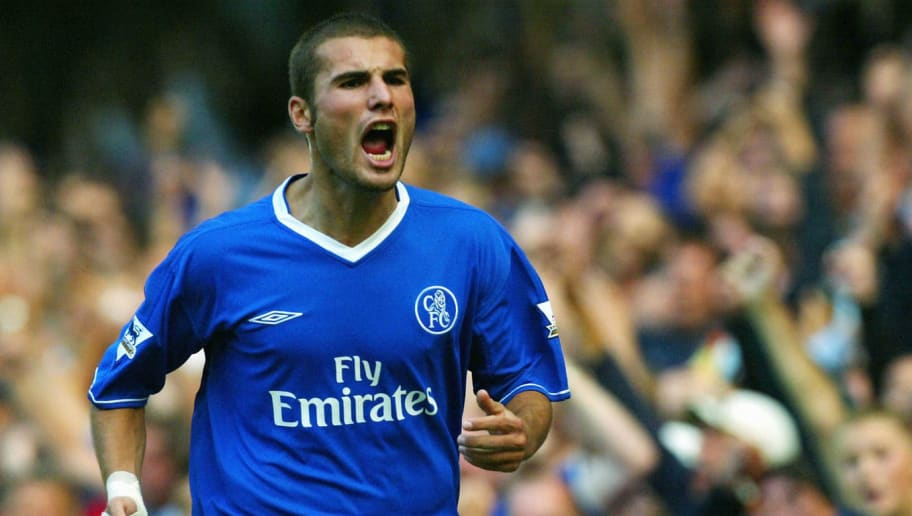 LONDON - AUGUST 30:  Adrian Mutu of Chelsea starts to celebrate scoring a goal that was later disallowed during the FA Barclaycard Premiership match between Chelsea and Blackburn Rovers at Stamford Bridge on August 30, 2003  in London. (Photo By Ben Radford/Getty Images)