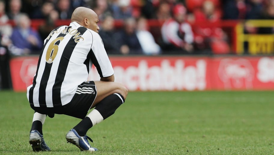 LONDON - MARCH 26:  Jean Alain Boumsong of Newcastle United looks during the Barclays Premiership match between Charlton Athletic and Newcastle United at The Valley Stadium on March 26, 2006 in London.  (Photo by Christopher Lee/Getty Images)