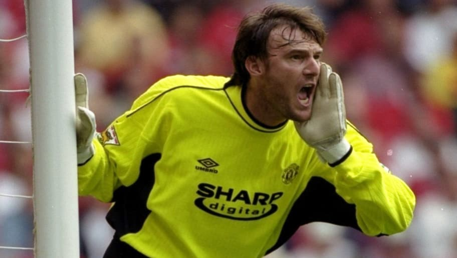 11 Sep 1999:  Massimo Taibi makes his Manchester United debut in the FA Carling Premiership match against Liverpool at Anfield in Liverpool, England. United won 3-2. \ Mandatory Credit: Ross Kinnaird /Allsport