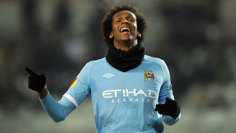 Manchester City's Jo (front) celebrates after scoring against Juventus during their Europa League football match at Olympic Stadium  in Turin on  December 16, 2010. AFP PHOTO / GIUSEPPE CACACE (Photo credit should read GIUSEPPE CACACE/AFP/Getty Images)