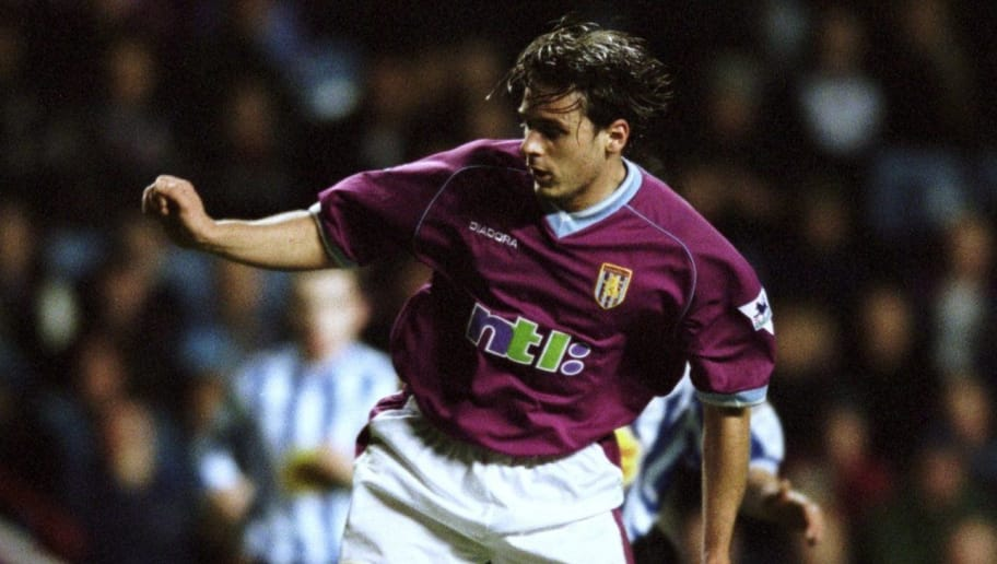 28 Nov 2001:  Bosko Balaban of Aston Villa tries to break through during the Worthington Cup fourth round match against Sheffield Wednesday played at Villa Park, in Birmingham, England. Sheffield Wednesday won the match 1-0. \ Mandatory Credit: Jamie McDonald /Allsport