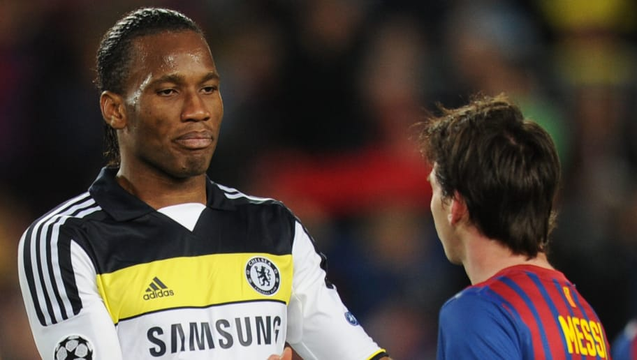 Chelsea's Ivorian forward Didier Drogba (L) shakes hands with Barcelona's Argentinian forward Lionel Messi after the UEFA Champions League second leg semi-final football match Barcelona against Chelsea at the Cam Nou stadium in Barcelona on April 24, 2012.       AFP PHOTO / LLUIS GENE (Photo credit should read LLUIS GENE/AFP/Getty Images)