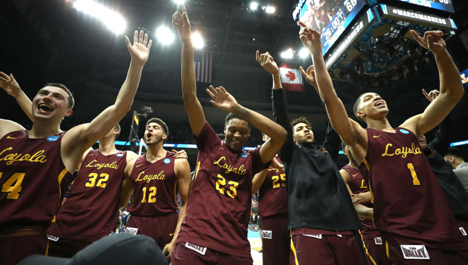 ATLANTA, GA - MARCH 22: The Loyola Ramblers celebrate after defeating the Nevada Wolf Pack during the 2018 NCAA Men's Basketball Tournament South Regional at Philips Arena on March 22, 2018 in Atlanta, Georgia. Loyola defeated Nevada 69-68. (Photo by Ronald Martinez/Getty Images)