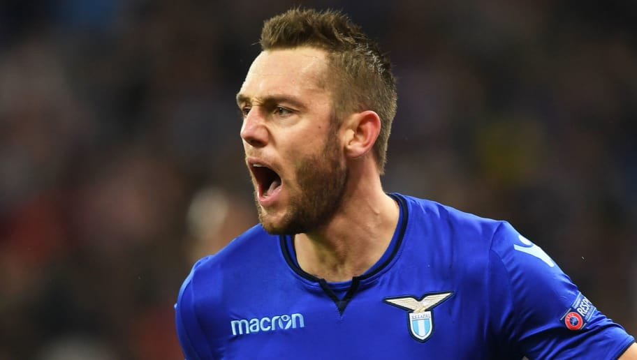 Lazios Stefan de Vrij celebrates his scoring during UEFA Europa League round 16 second-leg football match FC Dynamo Kiev vs SS Lazio Rome at the Olympiyski Stadium in Kiev on March 15, 2018.  / AFP PHOTO / SERGEI SUPINSKY        (Photo credit should read SERGEI SUPINSKY/AFP/Getty Images)