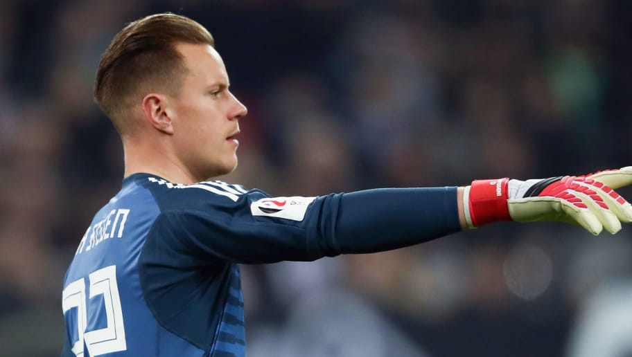 DUESSELDORF, GERMANY - MARCH 23:  Marc-Andre ter Stegen of Germany reacts during the international friendly match between Germany and Spain at Esprit-Arena on March 23, 2018 in Duesseldorf, Germany.  (Photo by Alex Grimm/Bongarts/Getty Images)