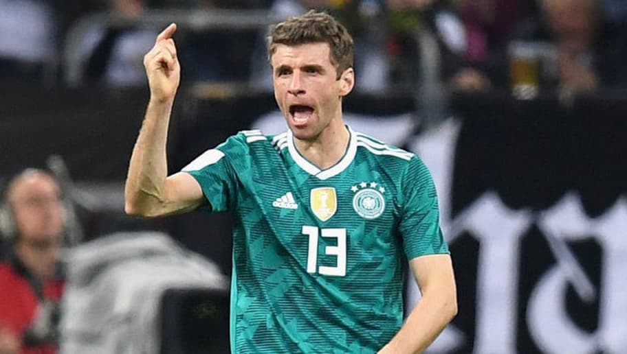 DUESSELDORF, GERMANY - MARCH 23:  Thomas Mueller of Germany celebrates after scoring his sides first goal during the International friendly match between Germany and Spain at Esprit-Arena on March 23, 2018 in Duesseldorf, Germany.  (Photo by Matthias Hangst/Bongarts/Getty Images)