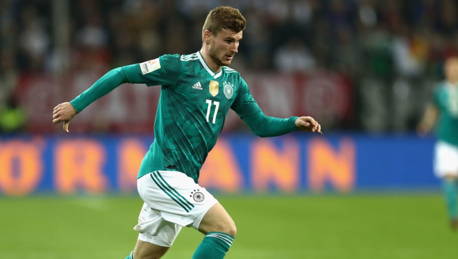 DUESSELDORF, GERMANY - MARCH 23: Timo Werner of Germany runs with the ball during the International friendly match between Germany and Spain at Esprit-Arena on March 23, 2018 in Duesseldorf, Germany.  (Photo by Lars Baron/Bongarts/Getty Images)