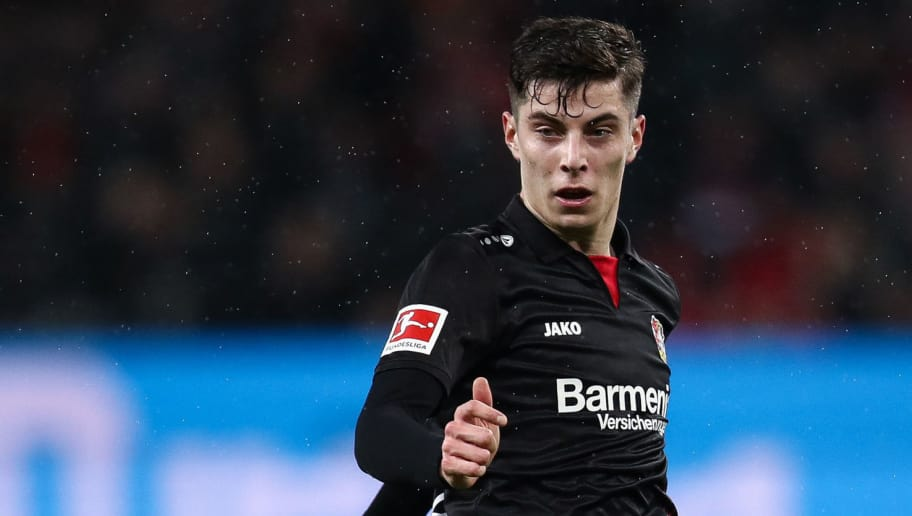 LEVERKUSEN, GERMANY - MARCH 10: Kai Havertz #29 of Bayer Leverkusen controls the ball during the Bundesliga match between Bayer 04 Leverkusen and Borussia Moenchengladbach at BayArena on March 10, 2018 in Leverkusen, Germany. (Photo by Maja Hitij/Bongarts/Getty Images)
