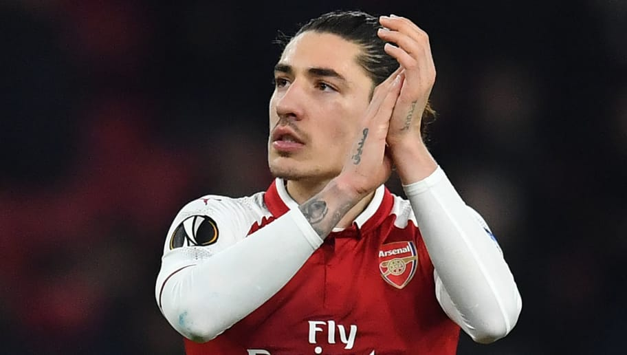 Arsenal's Spanish defender Hector Bellerin  gestures at the final whistle during the UEFA Europa League round of 16 second-leg football match  between Arsenal and AC Milan at the Emirates Stadium in London on March 15, 2018.   / AFP PHOTO / Ben STANSALL        (Photo credit should read BEN STANSALL/AFP/Getty Images)
