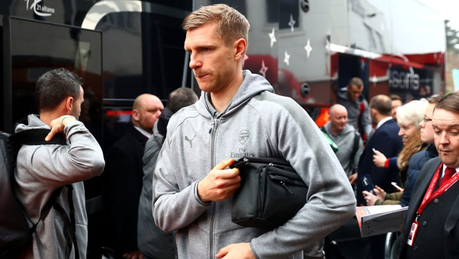 BOURNEMOUTH, ENGLAND - JANUARY 14:  Per Mertesacker of Arsenal arrives at the stadium prior to the Premier League match between AFC Bournemouth and Arsenal at Vitality Stadium on January 14, 2018 in Bournemouth, England.  (Photo by Clive Rose/Getty Images)
