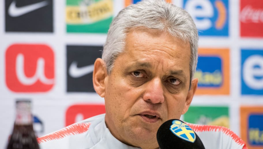 Chile's head coach Reinaldo Rueda speaks during a press conference on March 23, 2018 in Solna on the eve of the international friendly football match between Sweden and Chile.   Chile will meet Sweden for a friendly game tomorrow, March 24. / AFP PHOTO / Jonathan NACKSTRAND        (Photo credit should read JONATHAN NACKSTRAND/AFP/Getty Images)