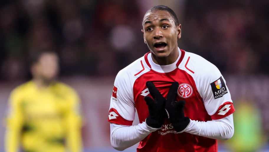 MAINZ, GERMANY - DECEMBER 12: Abdou Diallo #4 of FSV Mainz 05 reacts during the Bundesliga match between 1. FSV Mainz 05 and Borussia Dortmund at Opel Arena on December 12, 2017 in Mainz, Germany. (Photo by Simon Hofmann/Bongarts/Getty Images )