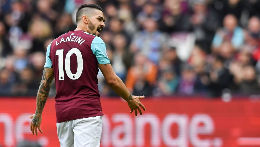 West Ham United's Argentinian midfielder Manuel Lanzini reacts during the English Premier League football match between West Ham United and Burnley at The London Stadium, in east London on March 10, 2018. / AFP PHOTO / Ben STANSALL / RESTRICTED TO EDITORIAL USE. No use with unauthorized audio, video, data, fixture lists, club/league logos or 'live' services. Online in-match use limited to 75 images, no video emulation. No use in betting, games or single club/league/player publications.  /         (Photo credit should read BEN STANSALL/AFP/Getty Images)
