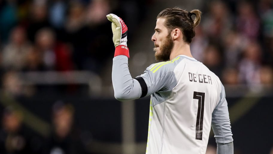 DUESSELDORF, GERMANY - MARCH 23: David de Gea reacts during the International friendly match between Germany and Spain at Esprit-Arena on March 23, 2018 in Duesseldorf, Germany. (Photo by Maja Hitij/Bongarts/Getty Images)