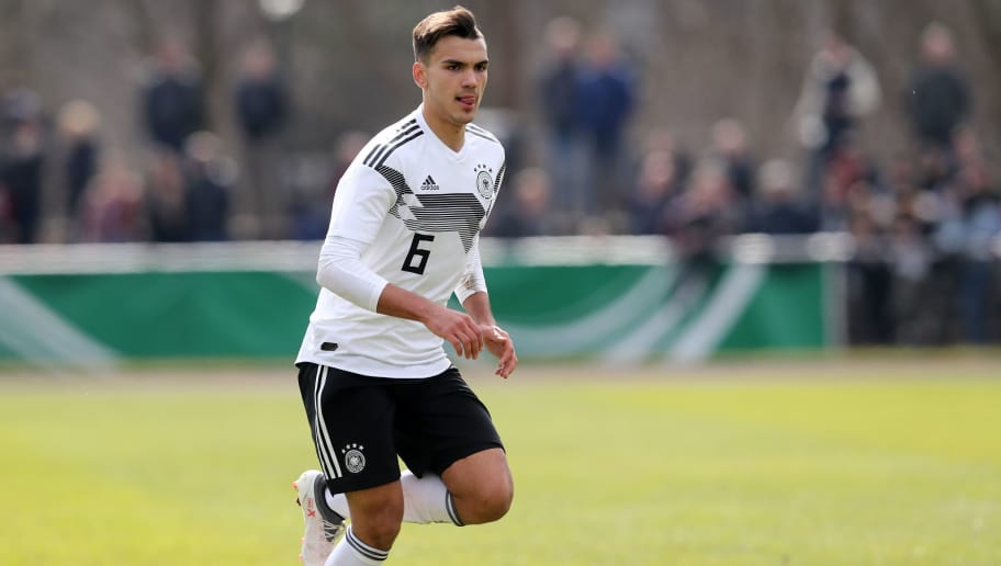 ARNSBERG, GERMANY - MARCH 24: Atakan Akkaynak of Germany runs with the ball during the UEFA Under19 European Championship Qualifier match between Germany and Norway at Stadion Grosse Wiese on March 24, 2018 in Huesten, Germany. The match between Germany and Norway ended 2-5. (Photo by Christof Koepsel/Bongarts/Getty Images)