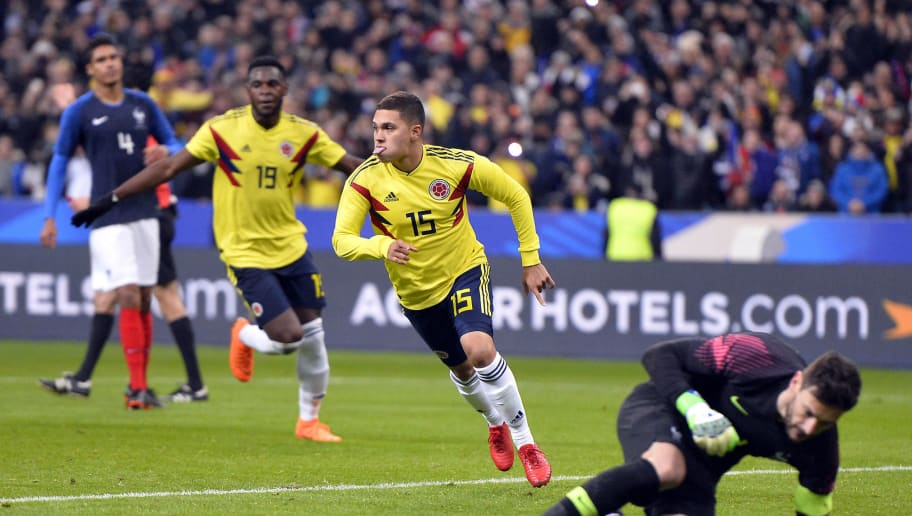 PARIS, FRANCE - MARCH 23:  Juan Fernando Quintero of Colombia reacts after scoring on a penalty kick during the international friendly match between France and Colombia at Stade de France on March 23, 2018 in Paris, France.  (Photo by Aurelien Meunier/Getty Images)